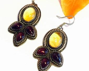 Beautiful Designer Sterling Silver Yellow Citrine Garnet Boho Tribal Vintage Earrings Singed