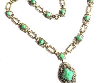 Beautiful Art Deco Art Nouveau Czech Green Peeking Glass Ornate Brass Vintage Necklace