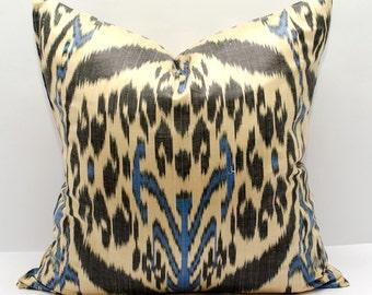 18x18 ikat pillow cover, Ikat Pillow, black, blue, cream, ikat, 18x18 Pillows, Pillowcases, ikat cushion, Home Decor, interior pillows