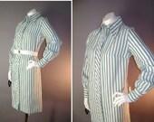 60s dress 1960s vintage GREEN WHITE STRIPE  mod cotton shirt dress deadstock tags nos