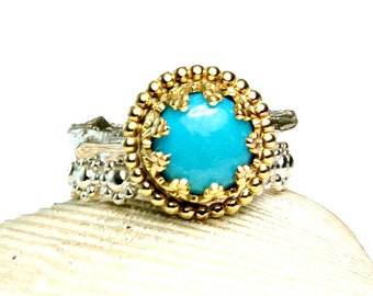 Sleeping Beauty Turquoise Ring, Solid 14k Gold, Sterling Silver Twig Ring, Natural Stone, Alternative Wedding Ring,