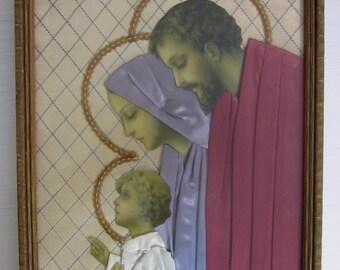 vintage Holy Family Boy Jesus Mary Joseph. Framed religious art print, Catholic decor. 3D dimensional satin & paper collage, sequined halos.