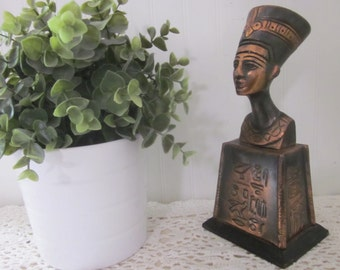 Queen Nefertiti Bust, vintage Egyptian hieroglyphics symbols statue. Copper & Wood. Classic, timeless paperweight, objet d'art home decor.