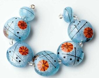 Blue Lampwork Bead Set, Art Glass Lentil Beads