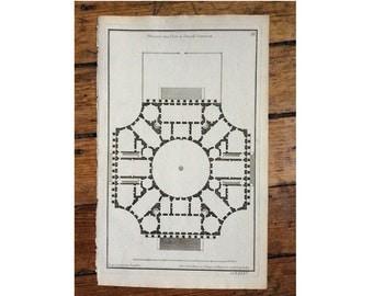 1757 PLAN VIEW engraving - court building - original antique french architecture plans print