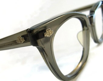 Vintage Grey G-Man Horned Rim Eyeglasses Frames Made In USA