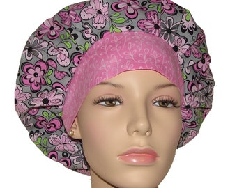 Scrub Hats - Fun Floral On Gray