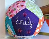 Ready to Ship Patchwork ball, hand embroidered gift, baby girl, christening gift, CE compliant, toy rattle, handmade in Ireland