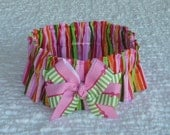 "Pink and Red Stripe Dog Scrunchie Collar with pink & green bow - Size L: 16"" to 18"" neck"