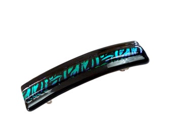 Hair Clips, French Barrette, Black with Blue Green Dichroic Glass