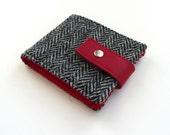 Harris Tweed wallet , classic black and white herringbone ,  great gift for men ,