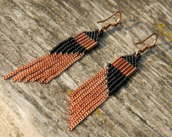Black and Copper Beaded Earrings with Chain