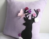 Secret Garden. Deer Dreaming Of Spring Soft Lilac Pillow Cover. Decorative Deer Cushion Cover. Housewarming Gift