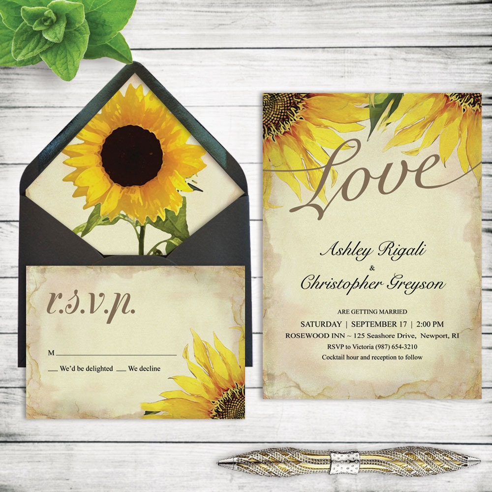 Wedding Invitations Sunflower Fall Autumn Spring Summer