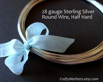 20 feet, 28 gauge Sterling Silver Wire - Round, HALF HARD, solid .925 silver, wire wrapping, earrings, necklace pendant, DIY jewelry supply