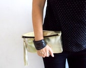 Golden leather clutch, women purse