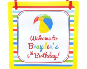 Pool Party Door Sign, Beach Ball Party Welcome Sign, Pool Party Sign, Beach Ball Door Hanger, Pool Party Decoration