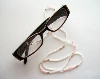 Crystal Eyeglass Holder Beaded Necklace or Lanyard with Swarovski Pink Bicone Crystals