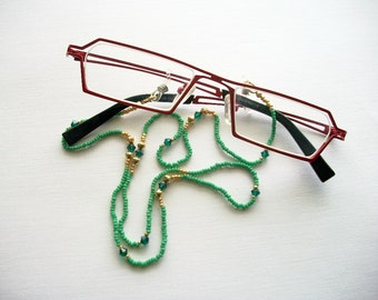 Eyeglass Lanyard Green Beaded Necklace with Green Crystal and Gold Plated Bicones
