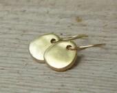 Circle Earrings, Gold Disc Earrings, Gold Earrings, Gold Earring, Simple Gold Dangle Earrings, Organic Shape Earrings