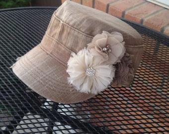 denim khaki hat womens cadet hat tan hat baseball cap flower on hat distressed hat military cadet hat womens hat womens flower hat mother