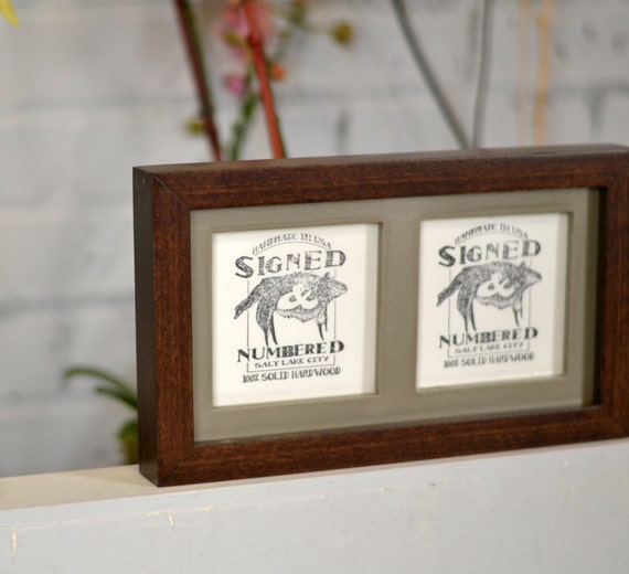 "Diptych Frame For (2) 4x4"" Square Photos W/ Deep Flat"