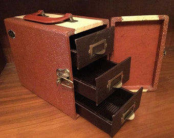 Vintage Brown Barnett & Jaffe Baja Slide Storage Box Case