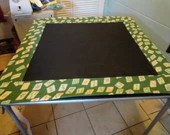 """Mahjong handmade table cover 33X33""""  green cotton with mah jong tiles  and green fabric vinyl mesh in center"""