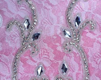 """XR307 Crystal Rhinestone Mirror Pair Silver Beaded Appliques 5.75"""" (XR307X-slcr)"""