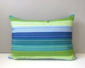 Blue & Green Striped Pillow Cover, Modern Outdoor Pillow Cover, Decorative Throw Pillow Case, Lime Green Royal Blue Sunbrella Cushion Cover
