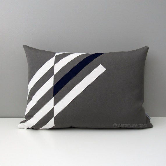 Grey & Navy Blue OUTDOOR Pillow Cover Modern Geometric