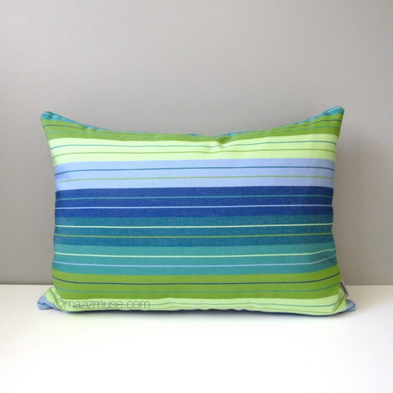 Blue And Green Striped Throw Pillows : Blue & Green Striped Pillow Cover Modern Outdoor Pillow