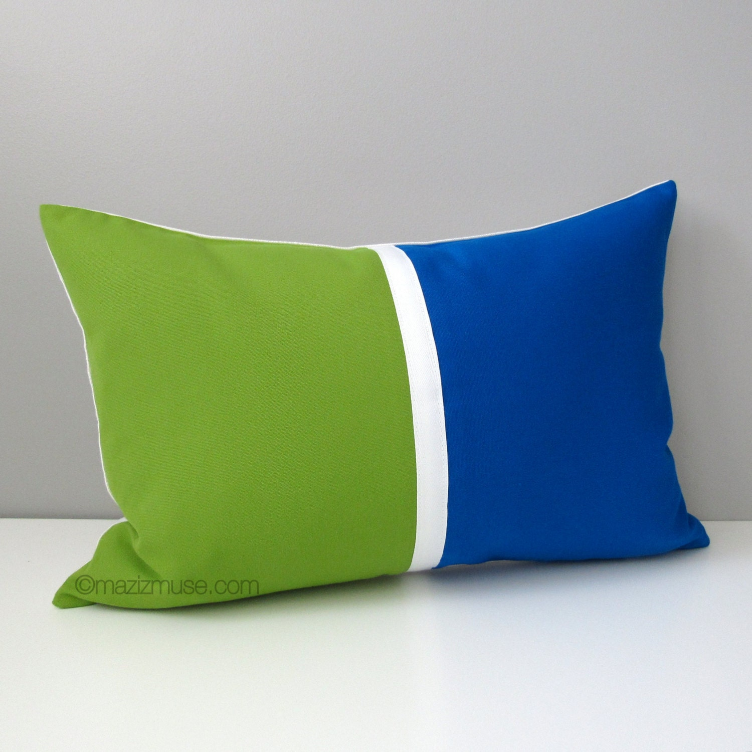 Lime Green And Blue Throw Pillows : Decorative Pillow Cover Cobalt Blue & Lime Green Outdoor