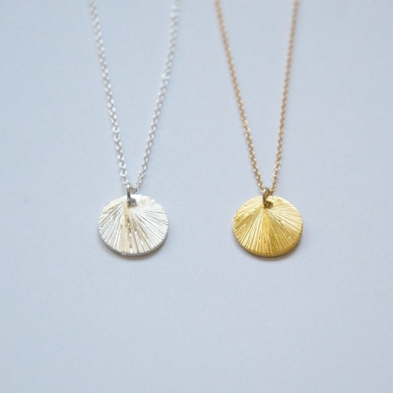 Disk necklace, gold disk, sterling silver disk, coin pendant, round gold pendant, brushed, sun, drop, dot, simple jewelry - Sandrine