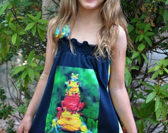 The RAIN FOREST FROGS UPCycled T Shirt Dress One Size Fits 2T - 6 Original Design