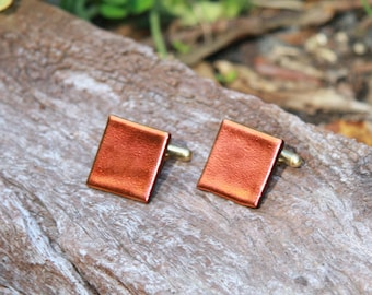 Fused Glass Cuff-links - Dichroic Red Orange