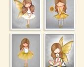 Wall art for girls room - Gray yellow Nursery art - Childrens art decor