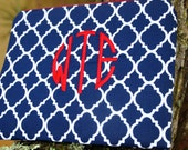Embroidered Navy and White Trefoil Zippered Pouch, made in Hawaii with Navy and White Polka Dot fabric lining