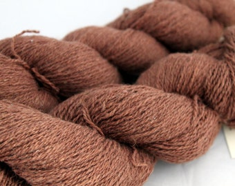 30% off STORE CLOSING SALE Brown Recycled Cotton Angora Blend Yarn, Lace Weight Yarn - 714 Yards