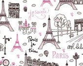 Paris 2015 Fabric by Timeless Treasures Parisian Monuments Landmarks GLITTER in Pink Black on White