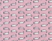 The Cats Meow Fabric by Dear Stella Cute White and Pink Mice In Rows on Pink