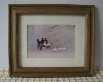 """Steve Polomchak Print - Amish Family - """"Going Home"""" - Framed"""