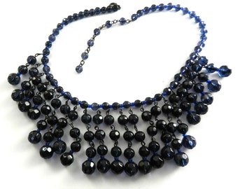 Blue night crystals necklace - vintage 1960s - beautiful jewel-Wonderful light blue night for the bib necklace--art.920-