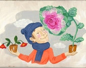 Small original painting: in a frosty winter, Michael decides that there is only one flower for him