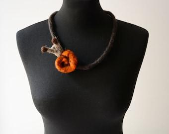 felt snail necklace, felt animal necklace, statement necklace, eco friendly