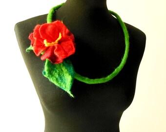 felt necklace, felt flower red flower necklace, statement necklace, bib necklace, eco friendly