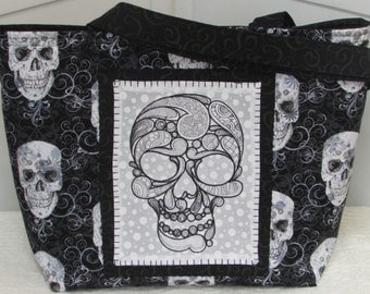 Black and White Lacey Skull Large Tote Bag Tattoo Skulls Purse Ready To Ship
