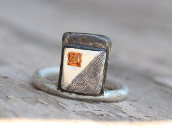 Geometric Orange Sapphire Silver Ring Black Square Princess Cut Gemstone Minimalistic Art Oxidized Shading Statement Band - Orange Abstract