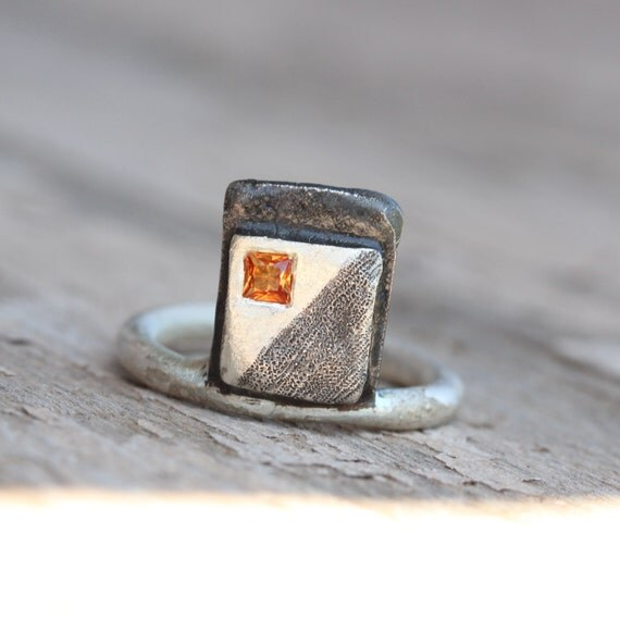 Geometric Orange Sapphire Silver Ring Black Square Princess Cut Gemstone Minimalistic Art Oxidized Shading Statement Band - Orange Abstract