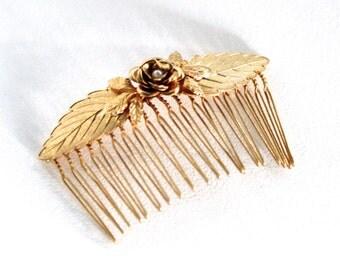 Laura Comb, Bridal Hair Accessories, Wedding Comb, Bridal Hair Decoration, Gold Leaves Comb, Floral Comb, Goddess Hair Ornament , Fairy Comb